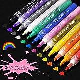 Acrylstifte Marker Stifte, Funnasting 12 Farben Wasserfest Acrylfarben Marker Art Filzstifte für DIY Fotoalbum, Scrapbook, Keramik, Rock, Holz, Glas, Stoff, Leinwand, Papier, Metall und Handwerk