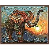 wwdfdd Cuadro DIY Lienzo Digital Pintura Al Óleo para Arte De Pared Elefante Abstracto (40X50Cm) Pintura por Número Kits Regalo para Adultos Niños Decoraciones para El Hogar, Sin Marco