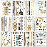 MUYOS 20 Hojas de Tatuajes Temporales Mujer Metalicos Dorados Flash (Multicolor)