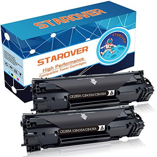 STAROVER 2x Schwarz Tonerkartuschen Kompatibel für drei Toner Modelle: CE285A (85A) / CB435A (35A) / CB436A (36A) Kompatibel mit HP LaserJet Pro P1102 P1102w M1212nf M1217nfw M1132 M1136 P1005 P1006 P1505 P1505n M1522 M1522nf M1120 M1522n M1120n Multifunktion Drucker (3-schicht-laser)
