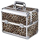 Yahee Kosmetikkoffer Schminkkoffer Beautycase Multikoffer Angelkoffer Aluminium 31x 20 x 28cm(Leopard)
