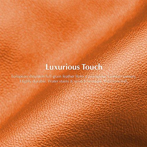 BONAVENTURA iPhone 8/7 Plus Custodia Portafoglio in Pelle (Prestigiosa Pelle Europea Pieno Fiore) con scomparti di carte | Luxury Leather Cover Case [iPhone 8/7 Plus | Nero e Rosso] Arancia