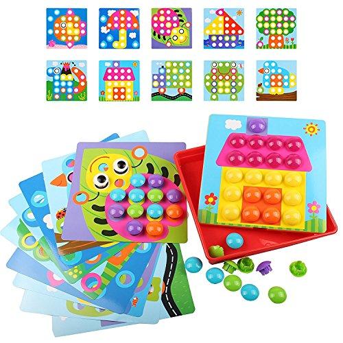 LVHERO Mosaik Steckspiel für Kinder ab 3 Jahre, Mosaiksteine mit Ø 3.5cm, Pädagogische Baustein Sets, Lernspielzeug Geschenke