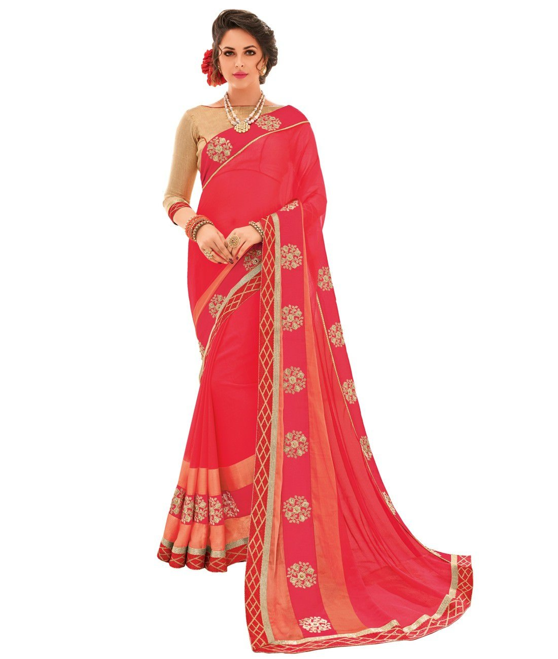 ffb876e065 Rangat Pink Colored Two Tone Chiffon Embroidered With Border Work Saree