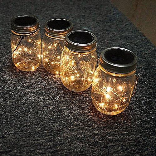 Mason Jar Deckel Lichter, 3-Pack Einmachglas mit 10 Leds Solar Fairy Firefly Led Lichter Deckel einfügen, passen regelmäßige Mund Mason Gläser für Garten Deck Patio Party Hochzeit Weihnachten dekorative (Gläser nicht enthalten) (Mason Jar Tags)