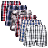 Lower East Herren American Boxershorts, 6er Pack, Mehrfarbig kariert, Gr. Medium