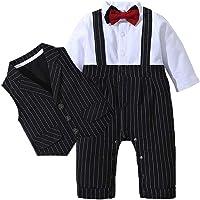Edjude Baby Boy Gentleman Oufit Set Formal Suit Long Sleeve Jumpsuit Bowtie Waistcoat 2pcs 3pcs 3 Months-3 Years