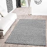 T&T Design Shaggy Teppich Hochflor Langflor Teppiche Wohnzimmer Preishammer Versch. Farben, Größe:160x220 cm, Farbe:grau