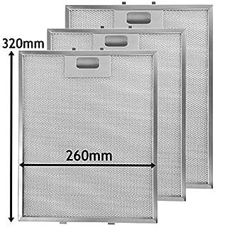 Spares2go Malla Metálica Filtro para teka campana extractora/extractor ventilación (Pack de 3 filtros, Plata, 320 x 260 mm)