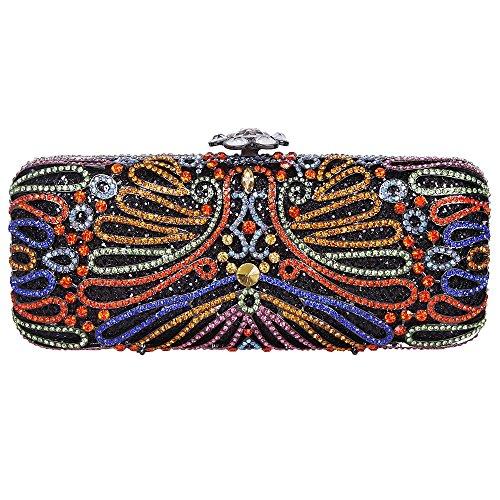 Santimon Donna Pochette Borsa Impresso Del Fiore Bagsuette Diamante Cristallo Borse Da Festa di Nozze Sera Con Tracolla Amovibile 3 Colori multicolore