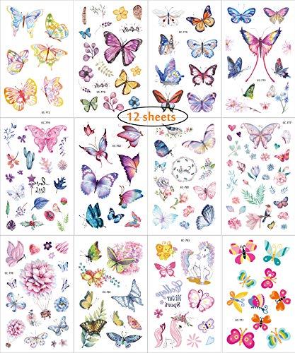 cker Kits temporär für Party, 12 Blatt Schmetterling FakeTattoos für die Schule Belohnungen Familie Spaß Spiele, Kinder Geschenke Parteien Dekorationen ungiftig Cartoon-Thema ()
