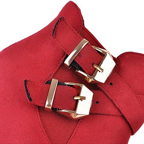 VogueZone009 Femme Tire Rond à Talon Haut De Cheville Bottes avec Boucle Rouge
