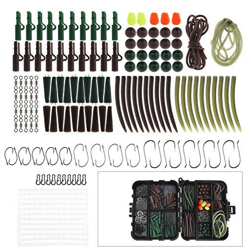 Karpfenangeln Tackle Box Angelkoffer mit Zubehör Blei Clips Perlen Haken Rohre Köder Karpfen Box