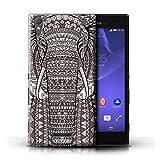 Kobalt Elefante Nero Bianco stampato Custodia Cover per Sony Xperia T3 cellulari telefoni / Collezione Disegno animale aztec