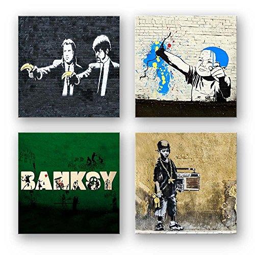 846f4df0ae Banksy Bilder Set D, 4-teiliges Bilder-Set jedes Teil 29x29cm, Seidenmatte  Optik auf Forex, moderne schwebende Optik, UV-stabil, wasserfest,  Kunstdruck für ...