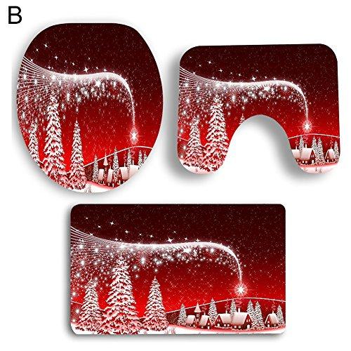 Slri SIridescentZB Decorazioni Natalizie, 3 Pezzi di Natale Tappeto Antiscivolo con piedistallo da Bagno + Coperchio Coperchio WC + Set Tappetino da Bagno B