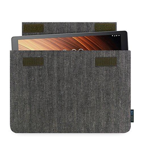 Adore June Lenovo Yoga Tab 3 Plus 10.1 Zoll Hülle [Serie Business] Charakteristisches Material Tasche aus Fischgrat Stoff [Display-Reinigungseffekt] Schutzhülle für Yoga Tab 3 Plus case Sleeve
