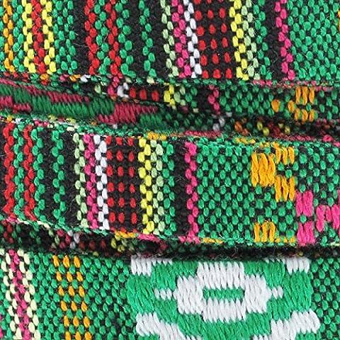 Lacet ethnique 10 mm Vert Mix x30cm