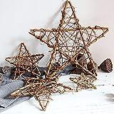 Floskam Rattan-Kranz, 20 mm, zum Aufhängen, Hochzeit, Weihnachten, Party, Twiggy-Girlande, Heimdekoration, 6 Stück Sterne