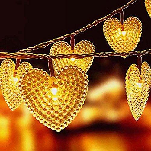 Heart String Lights, EONANT Im Freien Herz Lichter 30LED 19.7ft Wasserdicht mit 8 Modus Arbeitsbeleuchtung für Weihnachtsbaum Party Hochzeit Garten Schmücken (Warm White)