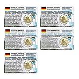 Set - 5 Münzkarten (ohne Münze) Deutschland für 2-Euro Gedenkmünzen 2012 A - J