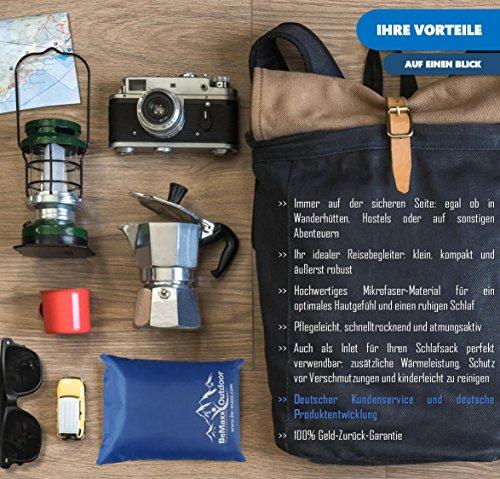 61S%2By4l8oQL - BeMaxx Sleeping Bag Liner + Pillow Inlet Outdoor – Compact, Lightweight Inlay | Summer Microfibre Bedroll | Space–saving…