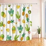 nyngei Pflanze Decor Kaktus Ananas Zitronen und empfindliche Gras Polyester-Schimmelresistent-Duschvorhänge für Badezimmer Haken im Lieferumfang enthalten 179,8x 179,8cm gelb grün