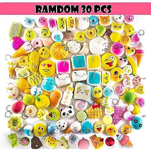 juguetes kawaii [nueva versión 2018] Lingyude Random 30 PCS cremas blandas perfumado lento levantamiento kawaii simulación adorable juguete medio mini Soft alimentos blandos, correas de teléfono (30P Donuts)