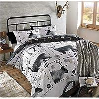 Dreamscene reno de Navidad diseño de ciervo funda de edredón juego de cama, ...
