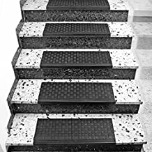 Torrex 30096 Stufenmatte aus Gummi - 65x25cm - mit Winkelkante, rutschfest, für Innen- und Außentreppen Treppenmatte