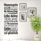 Grandora Wandtattoo Hausregeln Lache Lebe Liebe I pastellrosa (BxH) 43 x 100 cm I Familie Flur Küche Wohnzimmer Sticker Aufkleber Wandsticker Wandaufkleber W5452