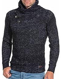 BLZ jeans - Pull homme noir à col châle