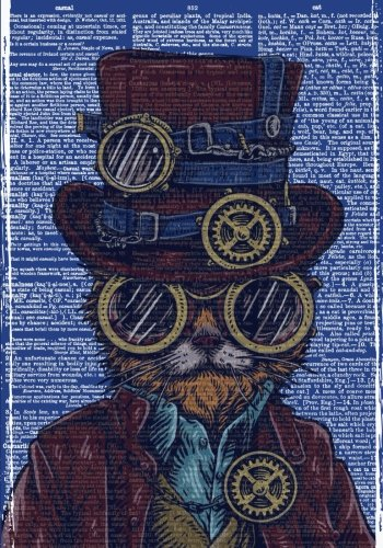 Steampunk Cat Vintage Dictionary Artwork Notebook (7 x 10 Inches): A Classic Ruled/Lined 7x10 Inch Notebook/Journal/Composition Book To Write In ... Uncle, Best Friend and Other Great Guys))
