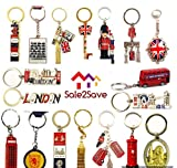 10 x Best Mix of Great British Keyrings London Icons Union Jack Brelock UK Souvenir Metal Key Rings by Sale2Save