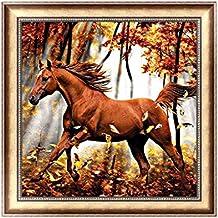 Jagenie DIY 5D diamante ricamo pittura a punto croce Craft cavallo nel bosco 30x 30cm
