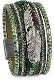 styleBREAKER weiches Armband mit Strasssteinen, Flechtelementen, Kette und Feder, Magnetverschluss, Damen 05040040, Farbe:Antik-Grün