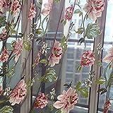 Transparent Gardine Vorhang Bestickt Sheer aus Voile Rose Stickerei Schlaufenschal Dekoschal Für Küche Wohnzimmer Das Schlafzimmer Fenster Screening (Rosa)
