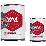 YAK Vernice Trasparente BICOMPONENTE 2K AntiGraffio Lt. 1,5 Auto Moto CARROZZERIA (1 lt Trasparente + 500 gr…