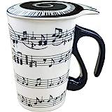 Amazon Brand – Umi Tasse en céramique à poignée note de musique effet 3D noire, couvercle inclus, pour café et thé, contenanc