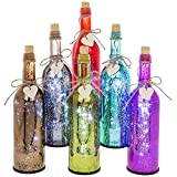 LED Firefly Bottle with hanging wooden heart (Red LED Bottle)