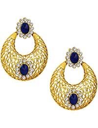 Om Jewells Exquiste Traditional Gold Plated Chandbali Earrings Made With Crystal Elements For Girls And Women...