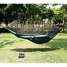 Candora™ - Amaca portatile con zanzariera, supporta fino a 200 kg, paracadute pieghevole, dimensioni albero per l'amaca (248,92x 119,38cm), per ambienti interni ed esterni, da campeggio, per le escursioni, da zaino, da giardino,installazione semplice