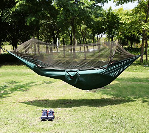 candora™ hands-free installation portable backpacking hammock tent with mosquito net supporting up to 440 pounds, parachute folding tree hammocks hanging bed (98 in x 47 in) for indoor, camping, hiking, backpacking, backyard,outdoor - limited time offer