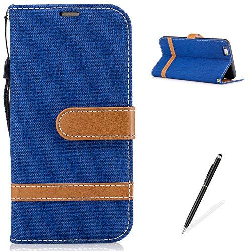 MAGQI Custodia iPhone 6 Plus 6S Plus 5.5 Wallet Flip Cover Portafoglio Case,Antigraffio Cowboy Retro Splice Colore Tessuti in Denim Funzione Dello Stand Pelle Sintetica Belt Clip Con Titolare della Ca Azzurro