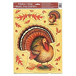 Unique Festive Turkey Thanksgiving Window Decals