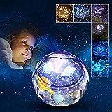 Rotierende Sterne Nachtlicht Projektor Lampe,FOHYLOY Sternenhimmel Projektorlampe Schlaf Sternennacht Universum mit 6 Filme&3 Modus Dekorationen Lichter Kinder Geschenk Spielzeug Schlafzimmer