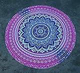 XNNSH Hippy Boho Gypsy Cotone Tovaglia Telo Mare, Tappetino Yoga Rotondo da Artigianato Popolare Camera da Letto Bagno Cucina Morbido Pavimento Mat Home Decor 57,5 Pollici,Purple