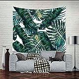 QEES tropischer Stil Wandteppich aus leichtem Polyster Wandtuch Wandbehang als Wand Dekoration Tischdecke Strandtuch Schöne Wanddeko GT06 (Dunkelgrün)