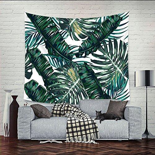 """Tropical palm hojas decoración tapiz patrón tejida Manta de sofá, tela de poliéster ligero hippie para colgar decoración de la pared, manta de playa, camino de mesa/gamuza (78""""* 58"""") (GT06), verde oscuro, 78""""*58"""""""