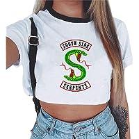 Magliette Tumblr Ragazza Riverdale Crop Top T-Shirt Estate Donna Canotta Maniche Corte Collo Rotondo Maglietta Moda Hip…